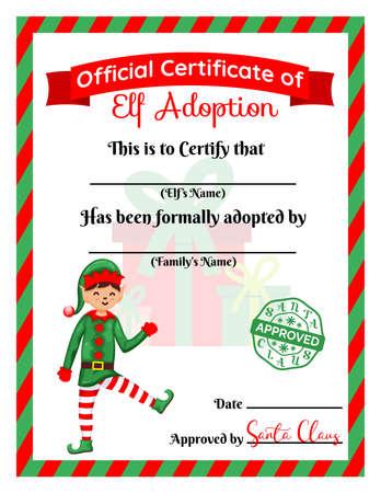 Santa s Elf adoption certificate. Card, Diploma. Flat vector illustration