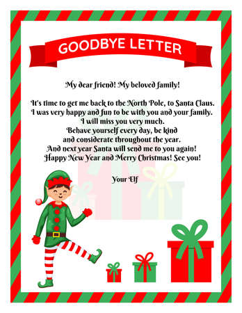 Christmas Elf Goodbye Letter With Christmas Gift Flat Vector Royalty Free Cliparts Vectors And Stock Illustration Image 157543123