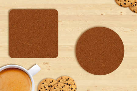 Blank square and round beer coasters and coffee beans on vintage wood table background. Responsive design mockup. Stockfoto