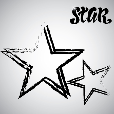 Textured Star used for stamps, banners. Star Icon. Illustration