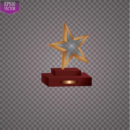 Glass trophies plaque engraved crystal award realistic vector illustration on transparent background. Vektoros illusztráció