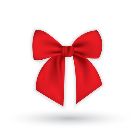 Realistic red bow and ribbon isolated on transparent background. Template for greeting card, poster or brochure.