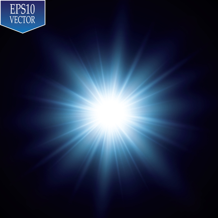 Glow light effect. Starburst with sparkles on transparent background.