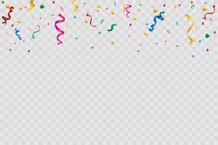 Golden confetti isolated on checkered background. Festive vector illustration. EPS 10