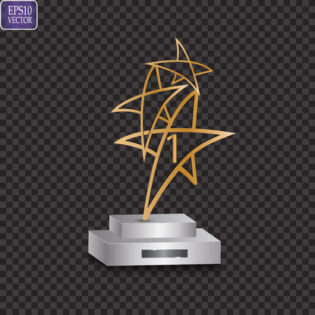 Glass trophy plaque engraved crystal award realistic vector illustration on transparent background