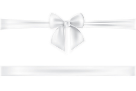 Realistic bow and ribbon isolated on transparent background. Template for greeting card, poster or brochure. Vector illustration.