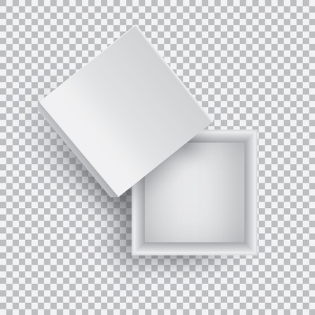 White open empty squares cardboard box isolated on transparent background top view. Mockup template for design products, package, branding, advertising. Vector illustration