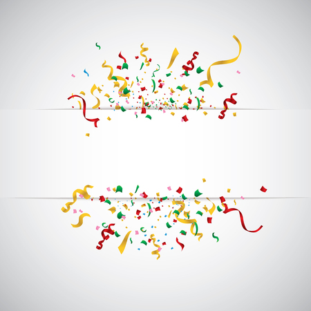 White paper banner, colored balloons and colored confetti. vector file.