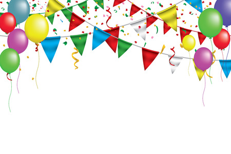 White paper banner for Carnival.Happy Birthday typography vector design for greeting cards and poster with balloon, confetti , design template for celebration.