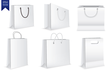 Set of white shopping bags isolated on white background,  Vector illustration. Ilustração