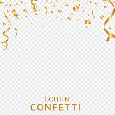 Golden confetti, ribbons isolated on a transparent background. Festive vector illustration. Festive event and party. Illustration