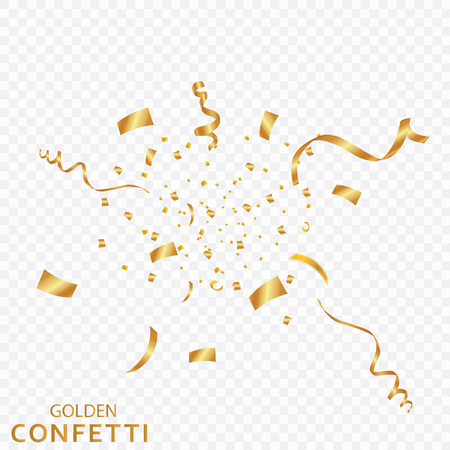 Golden confetti, ribbons isolated on a transparent background. Festive vector illustration. Festive event and party.  イラスト・ベクター素材