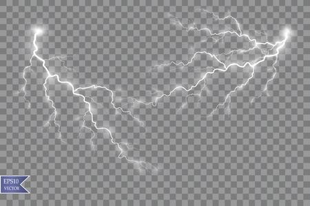 Vector illustration. Transparent light effect of electric ball lightning. Magic plasma energy