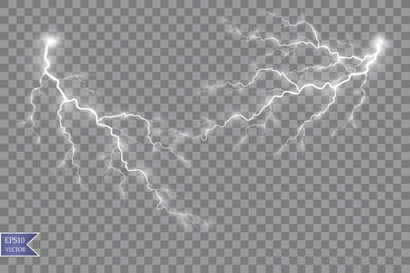 Vector illustration. Transparent light effect of electric ball lightning. Magic plasma energy