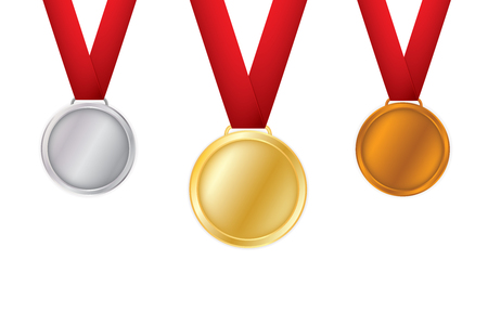 A set of gold, bronze and silver. Award medals isolated on white background. Vector illustration of the winner concept