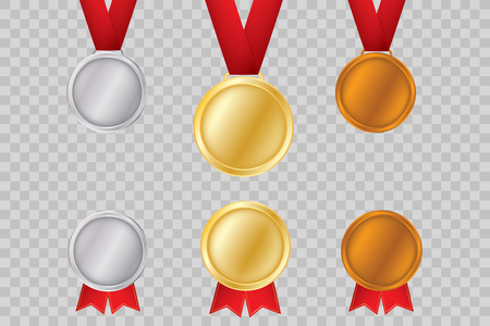 Set of gold, bronze and silver. Award medals isolated on transparent background. Vector illustration of winner concept