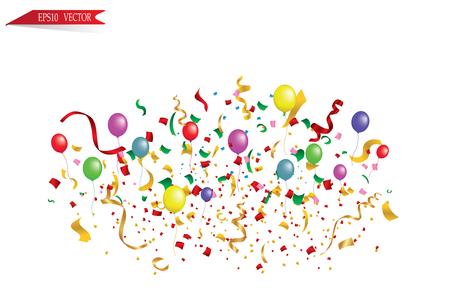 Witboek banner, gekleurde ballonnen en gekleurde confetti. vector bestand.
