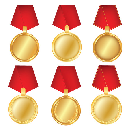 A set of gold. Award medals isolated on white background. Vector illustration of the winner concept. First place