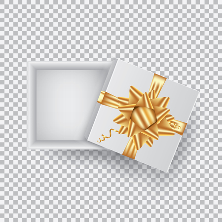 An open gift box with a gold bow, isolated on a transparent hairdryer. Vector illustration.EPS 10.
