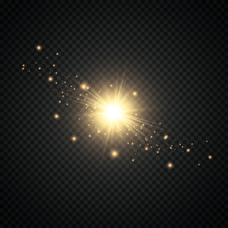 Glow light effect. Starburst with sparkles on transparent background. Vector illustration. Sun.EPS 10 矢量图像