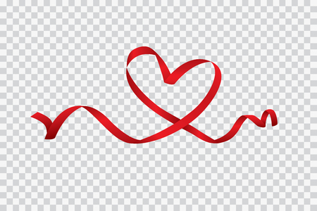 Red heart ribbon isolated on transparent background, vector art and illustration