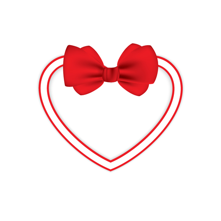 Valentine heart tied with red ribbon and bow. EPS 10