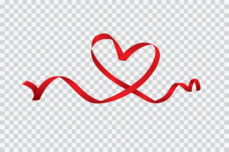 Red heart ribbon isolated on transparent background, vector art and illustration. 矢量图像