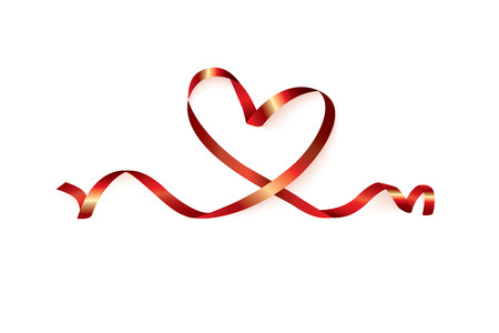 Red heart ribbon isolated on white background, vector graphic and illustration.
