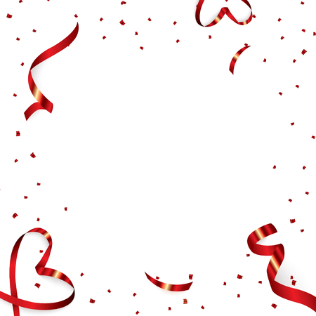Christmas, Valentine s Day red confetti with ribbon on a white background. Falling shiny confetti glitters. Holiday Party Design Elements. 矢量图像