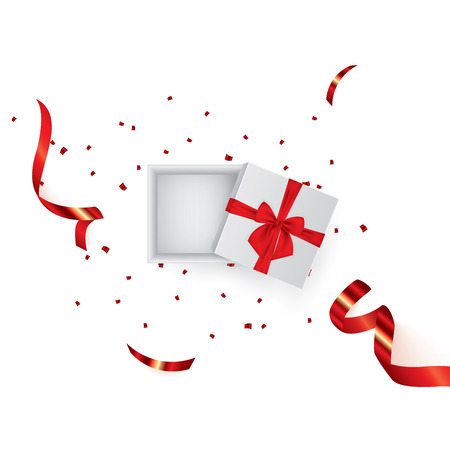 Open 3d realistic gift box with red ribbon and confetti. Vector illustration. EPS 10