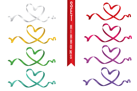 set of colored hearts from ribbons isolated on white background, vector graphics and illustrations.