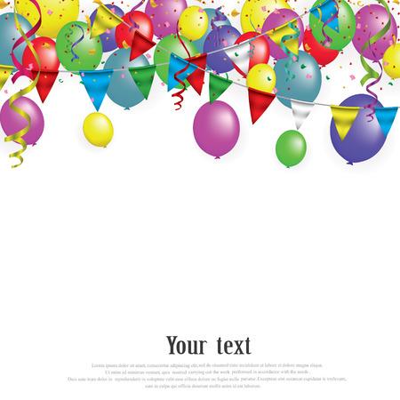 Banner di carta bianca per Carnival.Happy Birthday tipografia disegno vettoriale per biglietti di auguri e poster con palloncino, coriandoli, modello di progettazione per la celebrazione. EPS 10