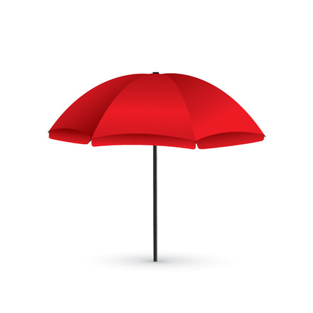Vector illustration of Red Beach Umbrella Holiday Symbol by the Sea