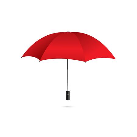 Ilustracja wektorowa klasycznego eleganckiego otwartego czerwonego parasola na białym tle Ilustracje wektorowe