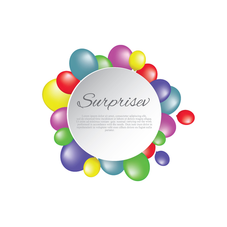 White paper banner, colored balloons .vector file.