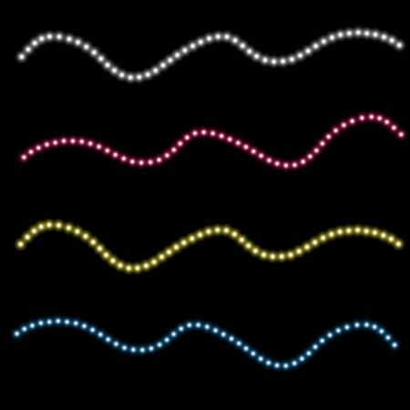 Various LED stripes on a black background, glowing LED garlands. 矢量图像