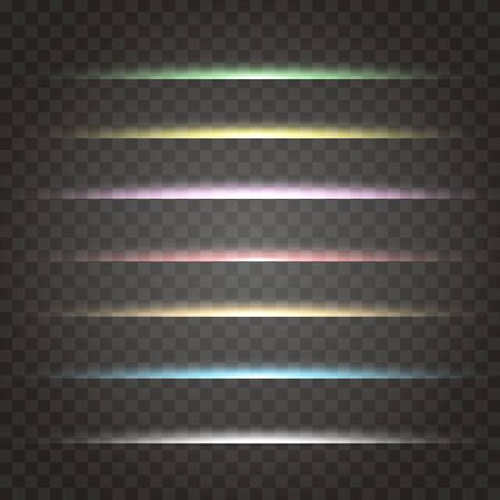 vector set of neon laser glow light . horizontal gleaming line flash effect on transparent. Decorative colorful highlight design detail for text ads and titles. 矢量图像