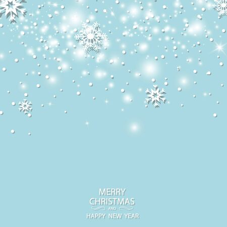 Winter white background christmas made of snowflake and snow with blank copy space for your text, Vector illustration 矢量图像