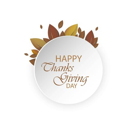 Happy Thanksgiving Day Autumn Background. Colorful autumn leaves decorated with white blank paper for your message. Can be used as a poster or greeting card design.