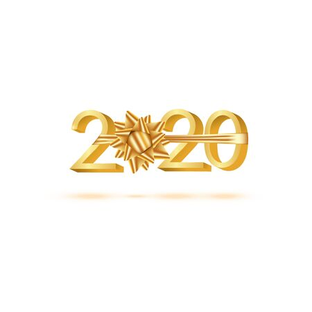 Happy New Year 2020. Golden 3D numbers with ribbons and confetti on a white background.