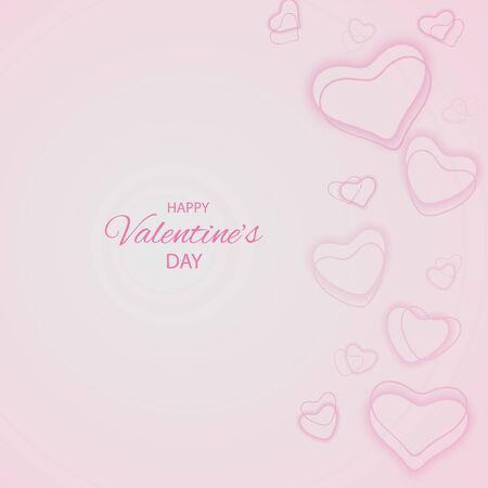 Valentine day background with hearts. pastel soft pink Abstract background made of hearts symbols bokeh with radial gradient.