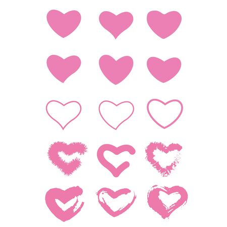 Icon set of pink hearts. Painted hearts from grunge brush strokes. Collection of love symbols for valentine card, banner. texture design elements. Isolated on white background. Vector illustration.