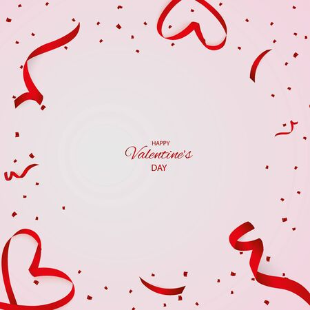 Valentine day red confetti with ribbon on a pink background. Falling glittering confetti glitters. Holiday Party Design Elements