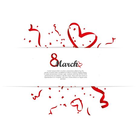 Happy March 8 greeting card. Vector template romantic poster with red hearts, festive background. Love, poster, banner, e-card. Advertising, design. Framed paper hearts 矢量图像