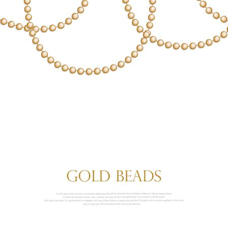 Gold beads on a white background. A beautiful chain of gold color. Net beads are realistic. Decorative element from golden ball design. vector illustration