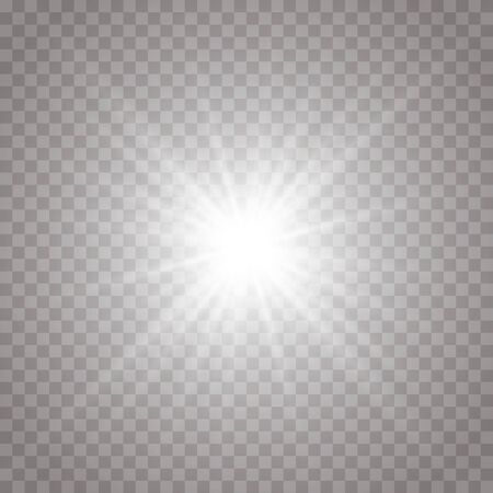 Glow isolated white transparent light effect, lens flare, explosion, shine, line, sun flare, spark and stars. Abstract design of special effect element. Shining ray with lightning