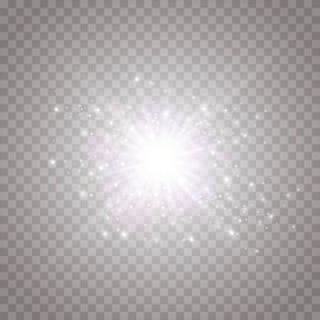 Glow isolated white transparent light effect, lens flare, explosion, shine, line, sun flare, spark and stars. Abstract design of special effect element. Shining ray with lightning. 矢量图像