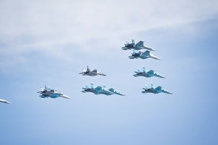Russian aerobatic performance demonstrator team Swifts in the sky.