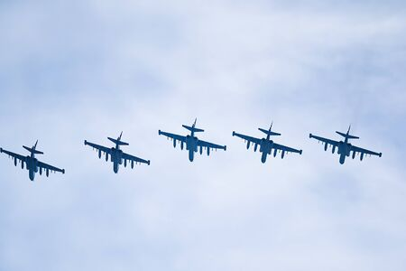 Five russian fighter jest flying through a cloudy sky Archivio Fotografico