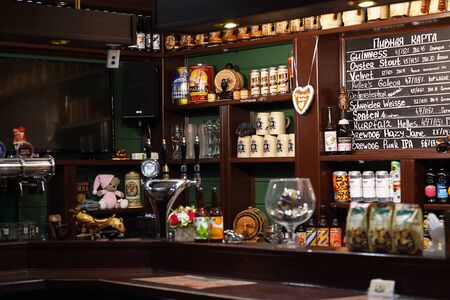 This is interior of modern pub for drinking and socializing, beer bar